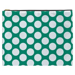Emerald Green Polkadot Cosmetic Bag (xxxl) by Zandiepants