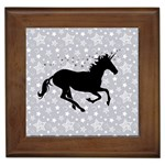 Unicorn on Starry Background Framed Ceramic Tile