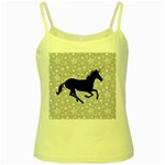 Unicorn on Starry Background Yellow Spaghetti Tank