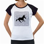Unicorn on Starry Background Women s Cap Sleeve T-Shirt (White)