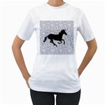 Unicorn on Starry Background Women s Two-sided T-shirt (White)
