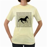 Unicorn on Starry Background Women s T-shirt (Yellow)
