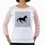 Unicorn on Starry Background Women s Long Cap Sleeve T-Shirt (White)