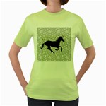 Unicorn on Starry Background Women s T-shirt (Green)