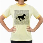 Unicorn on Starry Background Women s Ringer T-shirt (Colored)