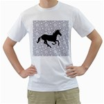 Unicorn on Starry Background Men s Two-sided T-shirt (White)