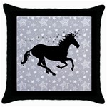 Unicorn on Starry Background Black Throw Pillow Case