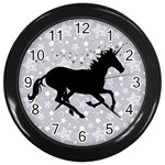 Unicorn on Starry Background Wall Clock (Black)