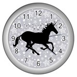 Unicorn on Starry Background Wall Clock (Silver)