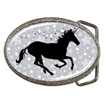 Unicorn on Starry Background Belt Buckle (Oval)