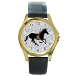 Unicorn on Starry Background Round Leather Watch (Gold Rim)