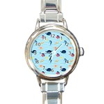 Fun Fish of the Ocean Round Italian Charm Watch