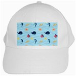 Fun Fish of the Ocean White Baseball Cap