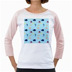 Fun Fish of the Ocean Women s Long Cap Sleeve T-Shirt (White)