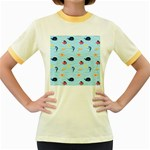 Fun Fish of the Ocean Women s Ringer T-shirt (Colored)