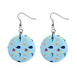 Fun Fish of the Ocean Mini Button Earrings