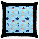 Fun Fish of the Ocean Black Throw Pillow Case