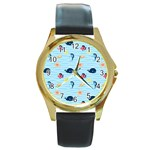 Fun Fish of the Ocean Round Leather Watch (Gold Rim)