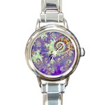 Sea Shell Spiral, Abstract Violet Cyan Stars Round Italian Charm Watch