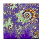 Sea Shell Spiral, Abstract Violet Cyan Stars Ceramic Tile