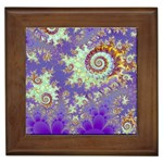 Sea Shell Spiral, Abstract Violet Cyan Stars Framed Ceramic Tile