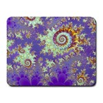 Sea Shell Spiral, Abstract Violet Cyan Stars Small Mouse Pad (Rectangle)