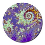 Sea Shell Spiral, Abstract Violet Cyan Stars 8  Mouse Pad (Round)