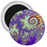 Sea Shell Spiral, Abstract Violet Cyan Stars 3  Button Magnet