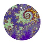 Sea Shell Spiral, Abstract Violet Cyan Stars Round Ornament