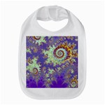 Sea Shell Spiral, Abstract Violet Cyan Stars Bib