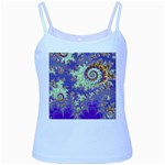Sea Shell Spiral, Abstract Violet Cyan Stars Baby Blue Spaghetti Tank