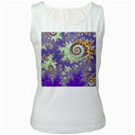 Sea Shell Spiral, Abstract Violet Cyan Stars Women s Tank Top (White)