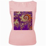 Sea Shell Spiral, Abstract Violet Cyan Stars Women s Tank Top (Pink)