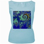 Sea Shell Spiral, Abstract Violet Cyan Stars Women s Tank Top (Baby Blue)
