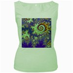 Sea Shell Spiral, Abstract Violet Cyan Stars Women s Tank Top (Green)