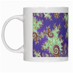 Sea Shell Spiral, Abstract Violet Cyan Stars White Coffee Mug