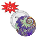 Sea Shell Spiral, Abstract Violet Cyan Stars 1.75  Button (10 pack)