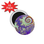 Sea Shell Spiral, Abstract Violet Cyan Stars 1.75  Button Magnet (10 pack)