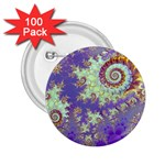 Sea Shell Spiral, Abstract Violet Cyan Stars 2.25  Button (100 pack)