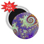 Sea Shell Spiral, Abstract Violet Cyan Stars 2.25  Button Magnet (100 pack)