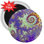 Sea Shell Spiral, Abstract Violet Cyan Stars 3  Button Magnet (10 pack)