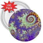 Sea Shell Spiral, Abstract Violet Cyan Stars 3  Button (100 pack)