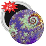 Sea Shell Spiral, Abstract Violet Cyan Stars 3  Button Magnet (100 pack)