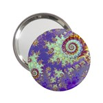 Sea Shell Spiral, Abstract Violet Cyan Stars Handbag Mirror (2.25 )