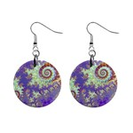 Sea Shell Spiral, Abstract Violet Cyan Stars Mini Button Earrings