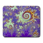 Sea Shell Spiral, Abstract Violet Cyan Stars Large Mouse Pad (Rectangle)