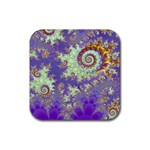 Sea Shell Spiral, Abstract Violet Cyan Stars Drink Coasters 4 Pack (Square)