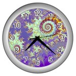 Sea Shell Spiral, Abstract Violet Cyan Stars Wall Clock (Silver)