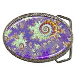 Sea Shell Spiral, Abstract Violet Cyan Stars Belt Buckle (Oval)