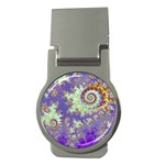 Sea Shell Spiral, Abstract Violet Cyan Stars Money Clip (Round)